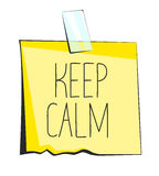 Keep calm paper sticky note. Retro reminder sticker Royalty Free Stock Photography