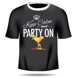 Keep calm and party on men tee Stock Photos