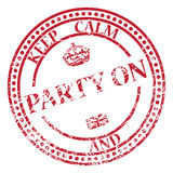 Keep Calm And Party On Stamp. A keep calm and party on stamp isolated on a white background Stock Image