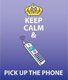 Keep Calm and Pick Up the Phone vector Stock Photography
