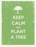 Keep Calm And Plant A Tree Eco Friendly Poster. Go Green Vector Concept on Recycled Paper Background Royalty Free Stock Photo