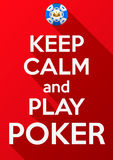 Keep Calm and play poker. Card or invitation Royalty Free Stock Photos