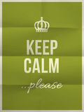 Keep calm please quote on folded paper texture Stock Image