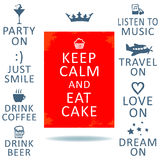 Keep calm. Poster Keep Calm. Various text and elements. Vector illustration Royalty Free Stock Photos