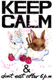 Keep Calm.  Rabbit watercolorr illustration. Stock Image