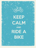 Keep Calm And Ride A Bike Creative Poster Concept. Vector Typography Concept on Paper Background Royalty Free Stock Images