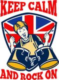 Keep Calm Rock On British Flag Queen Granny Drums Royalty Free Stock Photos