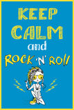 Keep calm and rock and roll. Hand drawn, vector background Royalty Free Stock Photos