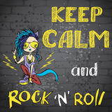 Keep calm and rock and roll. Hand drawn, vector background Royalty Free Stock Photo