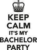 Keep calm it`s my bachelor party royalty free illustration