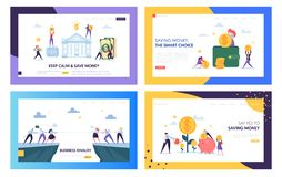 Keep Calm and Save Money Landing Page Set. Smart Choice in Business Rivalry, Earning and Keeping Capital for Company. Secure Cash Website or Web Page. Flat vector illustration