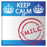Keep Calm And Smile Badge. A keep calm and smile badge isolated on a white background Stock Photography