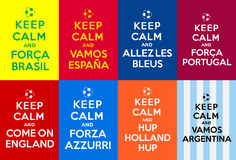 Keep calm supporters. Different Keep calm referencing to Keep calm and carry on about Soccer teams supporters Stock Image