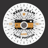 Keep calm and take photos. Vector photography logo template to use as a print on t-shirt, posters. Royalty Free Stock Image