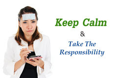 Keep Calm and take responsibility of business concept. Business woman got sick but take responsibility on duty Royalty Free Stock Image