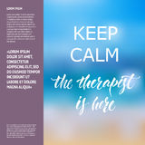Keep calm Therapist Hand lettering poster Royalty Free Stock Image