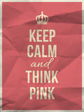 Keep calm think pink quote on crumpled paper texture Royalty Free Stock Photo