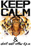 Keep Calm. Tiger watercolorr illustration. Royalty Free Stock Photos