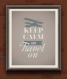 Keep calm and travel on - vintage poster Stock Photo