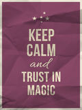Keep calm trust in magic quote on crumpled paper texture Stock Photography