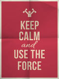 Keep calm use the force quote on folded in four paper texture. Keep calm and use the force quote on pink folded in four paper texture with frame Stock Images