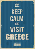Keep calm and visit Greece retro poster. Keep calm and visit Greece typographic vintage poster, vector illustration Royalty Free Stock Images