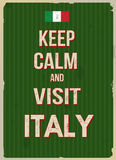 Keep calm and visit Italy retro poster. Keep calm and visit Italy typographic vintage poster, vector illustration Royalty Free Stock Photo