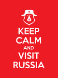 Keep calm and visit Russia red poster. With bear in cap with ear-flaps Stock Images