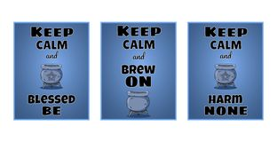 Keep calm wiccan posters set. Witchcraft postcards designs with magic cauldron stock illustration