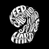 Keep Calm and Windsurf Hard. Custom hand lettering apparel t shirt print design, typographic composition phrase quote poster. Back Royalty Free Stock Photos
