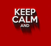 Keep calm words. In 3D on red wall Royalty Free Stock Photos