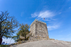 Keep of castle where the first king of Portugal imprisoned his mother Stock Images