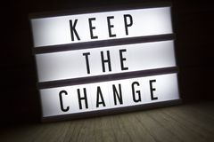 Keep the change. `Keep the change` text in lightbox stock images