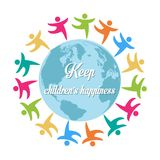 Keep children's happiness, group of children all around the worl Royalty Free Stock Photo
