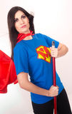 Attractive Woman Dressed as Super Hero Cleaning Royalty Free Stock Photos