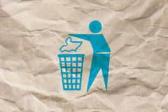 Keep clean please. A keep clean symbol on a brown wrinkled paper stock photos