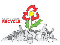 Keep clean - recycle. Allegory with flower, trash and recycle sign Stock Photos