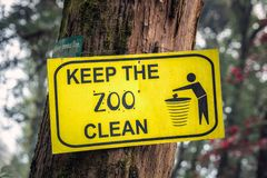 Keep clean sign. Keep the zoo clean sign at Darjeeling, India Stock Photo