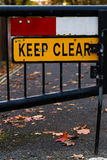 Keep Clear Sign Gated Street Close Up Royalty Free Stock Photo