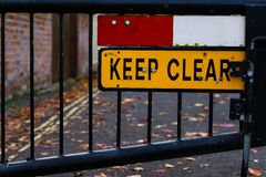 Keep Clear Sign Gated Street Close Up Stock Photos