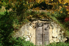 Keep in a cool place. This is a specific place builded in a little hill where you can keep things cool, for example potatoes, beer etc. A kind of a wine cave Royalty Free Stock Photo