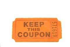 Keep This Coupon. Orange coupon used for raffle or drawing Royalty Free Stock Photos