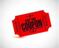 Keep this coupon. red ticket illustration Stock Photo