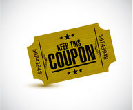 Keep this coupon. yellow ticket illustration Stock Image