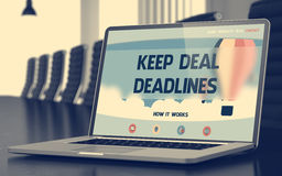 Keep Deal Deadlines - on Laptop Screen. Closeup. 3D Render. Royalty Free Stock Photography