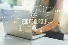 Free Keep Educate Yourself With Woman Using Laptop Royalty Free Stock Images - 160061549