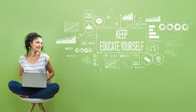 Keep educate yourself with young woman. Using a laptop computer royalty free stock photos