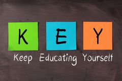 Keep Educating Yourself. Words with KEY notes on blackboard Royalty Free Stock Photo