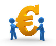 Keep Euro. Blue figures holds golden Euro sign. Concept of saving, backing, supporting currency or finanacial operation Royalty Free Stock Images