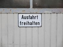 Keep exit clean sign in German language. In Germany Royalty Free Stock Photos